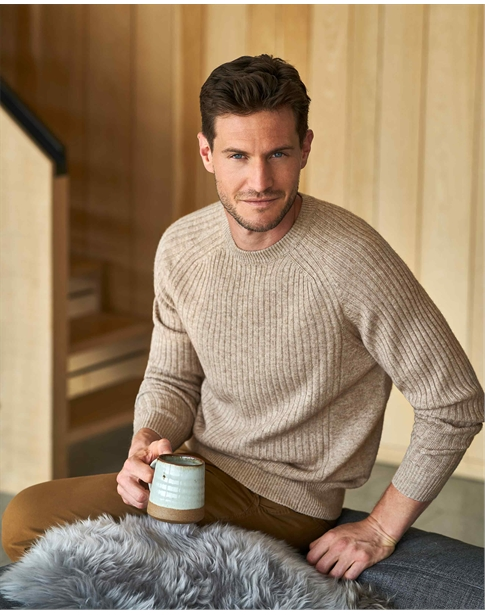 Wool Cashmere Ribbed Sweater