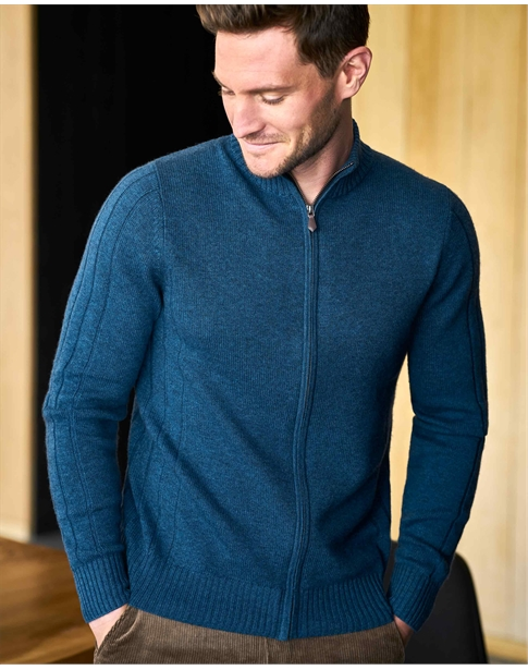Wool Cashmere Ribbed Zip Through