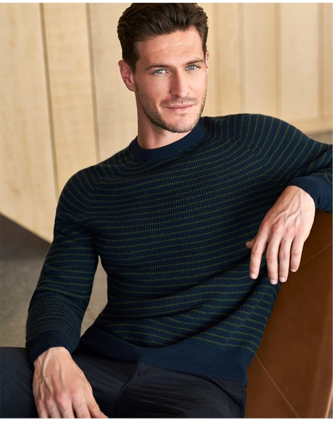 Mens Cashmere Khaki Striped Sweatshirt