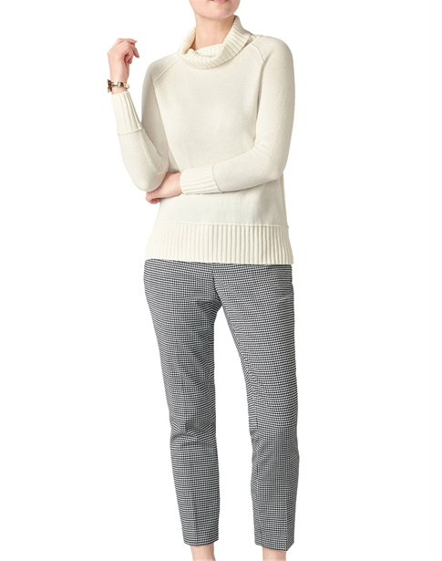 Ribbed Trim Polo Sweater