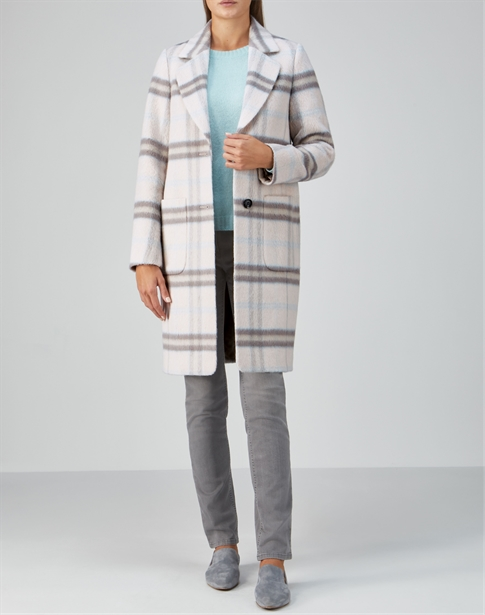 Checked Alpaca Blend Coat