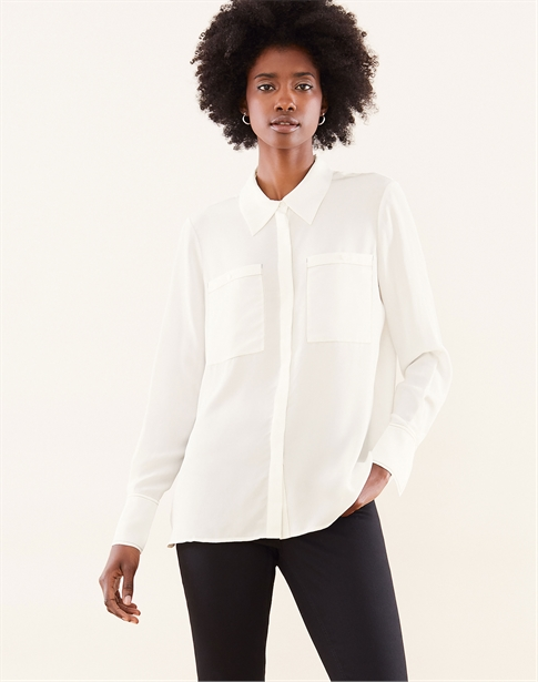 Silk Contrast Stitch Relaxed Blouse