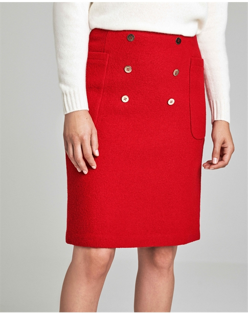 Wool Blend Double Button Mini Skirt