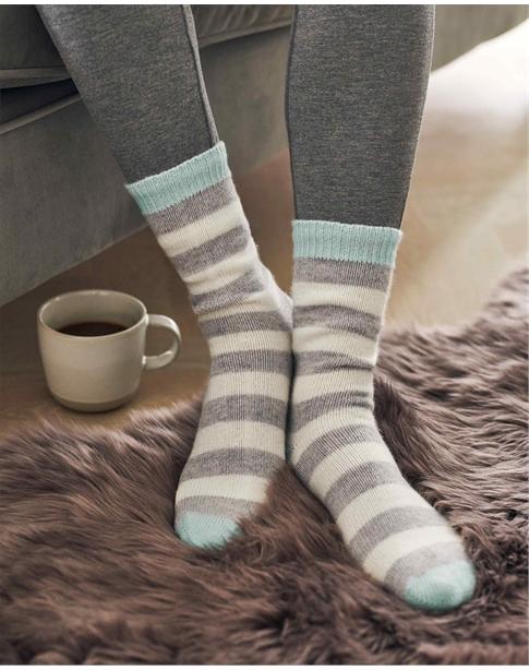 Cashmere Striped Bed Socks