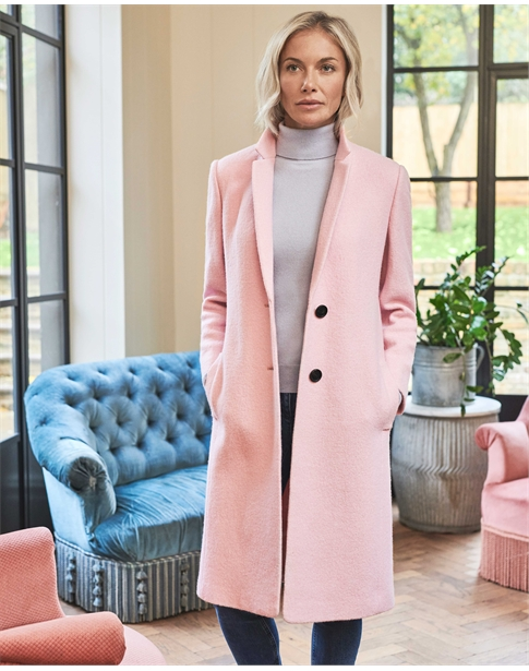 Boiled Wool Blend Midi Coat