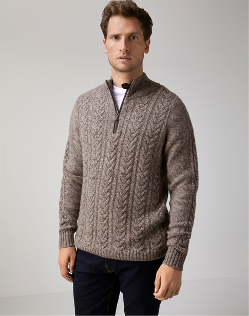 Mens Cable Zip Neck Sweater