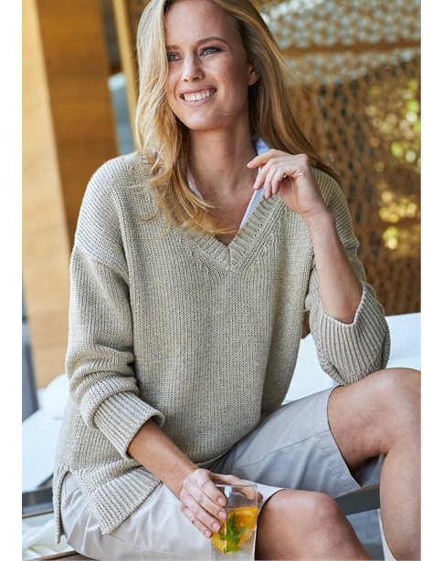Wide V Neck Metalic Sweater