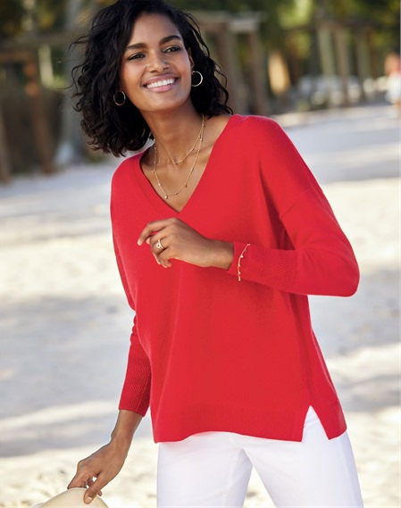 Spring Red | Cashmere Relaxed V Neck Sweater | Pure Collection
