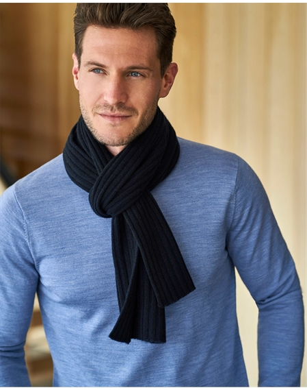 Mens Cashmere Ribbed Scarf