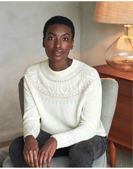 Cashmere Lofty Cable Fairisle Sweatshirt